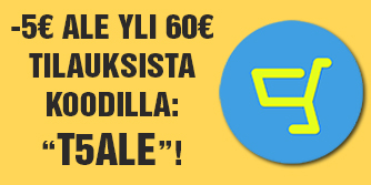 Saat nyt -5€ alennuksen kaikista yli 60e tilauksista. Tilaa heti!