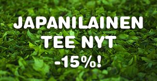 Japanilainen vihreä tee nyt -15% tarjoushintaan. Tilaa nyt kevään parhaat vihreät teet edullisesti Teekaupasta! (Huom. tarjous ei koske matcha-tuotteita)