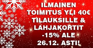 Anna lahjaksi unohtumattomia makukokemuksia. Nyt 26.12. saakka toimitus ILMAISEKSI yli 40€ tilauksille ja lahjakortit -15% ALE-hintaan. Tilaa heti!
