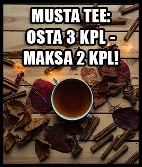 musta tee tarjous: osta 3kpl mitä tahansa mustaa teelatua, ja maksat vain 2kpl!