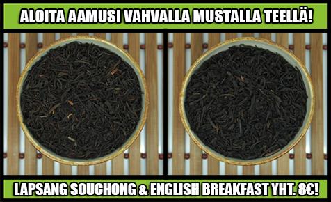 musta tee tarjous english breakfast ja lapsang souchong 8€