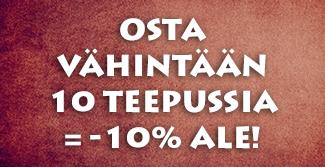 Kun ostat yli 10 teetuotetta, saat koko tilauksen -10% Ale-hintaan. Alennus lasketaan automaattisesti ostoskorissa. Tilaa heti!