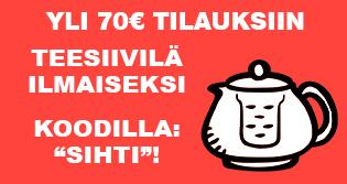 """Yli 70€ arvoisille tilauksille valitsemasi teesiivilä ILMAISEKSI koodilla: """"SIHTI""""! Lisää vain mieleisesi siivilä ostoskoriin ja syötä kuponki lunastaaksesi tarjouksen!"""