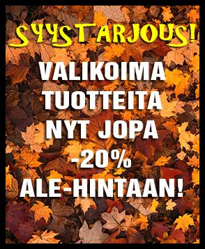 Valikoima tuotteita nyt jopa -20% Ale-hintaan. Teekaupan syystarjous voimassa koko lokakuun. Tutustu valikoimaan ja tilaa heti!
