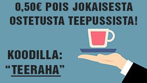 """Nyt saat 0,50€ pois jokaisesta ostamastasi teepussista koodilla: """"TEERAHAT"""". Tilaa heti teetä huippuhintaan!"""
