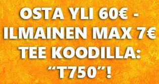 """Nyt saat max 7€ arvoisen teelaadun ILMAISEKSI kun tilauksen summa on yli 60€. Lisää tuotteet ostoskoriin ja syötä koodi: """"T750""""!"""